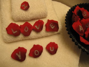 rose petals with love letters